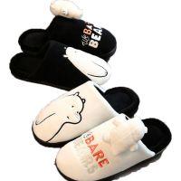 情侣拖鞋冬室内居家居保暖可爱毛拖鞋女毛绒裸熊卡通包跟棉拖鞋男