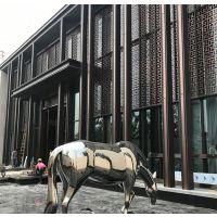 中式酒店 售楼部装饰不锈钢屏风花格定做厂家