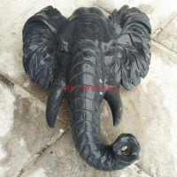 流水大象头壁挂摆件 喷水景墙动物雕塑 大厅室内大理石狮子头像