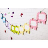 创意5寸大象10张纸相框照片墙悬挂相片墙DIY组合送夹子和麻绳