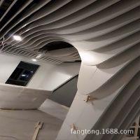 波浪吕方通条形吊顶 供应多功能室 弧形板天花 国际学校铝方通