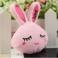 外贸出口欧美钥匙扣挂件 创意 毛绒玩具兔子动物头公仔毛绒挂件