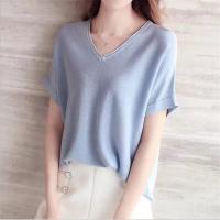 工厂外贸新款女装针织短袖毛衣 库存韩版潮流女式半袖打底衫批发