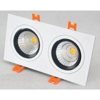 LED双头射灯COB方型灯天花灯斗胆灯嵌入式开孔 长方形格栅射灯