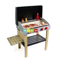 批发新年礼物我的烧烤架儿童过家家玩具仿真厨房木质带轮子
