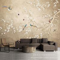 客厅电视背景墙壁纸沙发墙纸卧室床头大型壁画新中式花鸟无缝墙布
