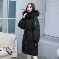 2018冬季韩版大毛领菱形格加长过膝女装羽绒服女中长款修身加大码