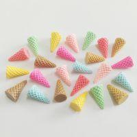 仿真冰淇淋甜筒树脂饰品配件 毛球花束底托配饰 创意挂件材料批发