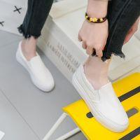 2018春季厚底小白鞋女学生一脚蹬懒人平底潮休闲白色松糕帆布鞋子