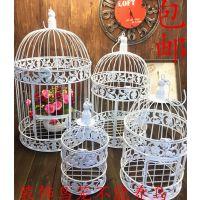 欧式铁艺装饰鸟笼橱窗摆件白色摄影道具大型号婚庆酒店鸟笼