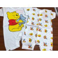 夏款短袖婴儿平角哈衣爬服连体衣维尼熊男女宝童