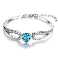ebay爆款热销奥地利蓝色水晶镶钻手镯海洋之心手链女跨境新品配饰