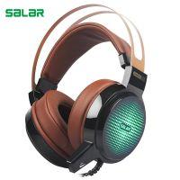 声赖salar C13头戴式电竞耳机USB+3.5七彩光游戏电脑耳麦发光耳机