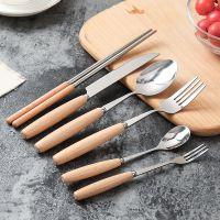不锈钢西餐牛排餐具套装 西餐刀叉两件套三件套木手柄牛排刀叉勺