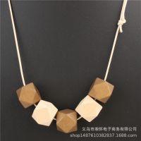 外贸热销爆款wish速卖通热卖木头材质项链方形八角木珠吊坠毛衣链