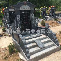 厂家供应大理石家族墓碑 芝麻黑欧式石头墓群