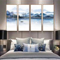 新中式水墨山水背景墙壁纸客厅装修效果图墙纸3d墙纸定制无缝墙布
