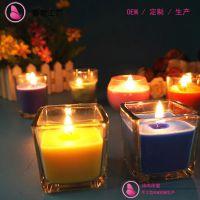 高档方形玻璃杯装的天然香薰大豆蜡烛OEM代加工定制 可加精油