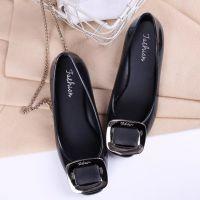 新款夏季时尚方头方扣平底浅口单鞋瓢鞋防滑防水果冻女鞋一件代发