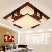简约古典中式方形吸顶灯 江苏定做房间/餐厅/客厅/卧室木艺羊皮灯