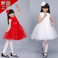韩版婚纱女童礼服 花童演出礼服亲子装 缕空蕾丝蓬蓬纱连衣裙套装