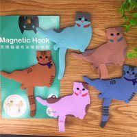 创意家居可爱小猫咪随意弯曲冰箱贴装饰磁性贴 硅胶猫咪尾巴挂钩