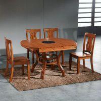 全实木餐桌椅组合带电磁炉可伸缩火锅圆桌变四方桌家用10人饭桌子