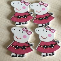 彩绘木质小猪挂件 饰品 钥匙扣 彩色扣子 diy手工制作拼图贴片