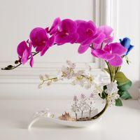 PU手感仿真蝴蝶兰套装 假花装饰花中式餐桌家居客厅前台摆件花艺
