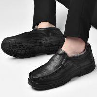 秋冬新款头层牛皮爸爸鞋男士真皮鞋软底舒适棉鞋休闲皮鞋防滑防水