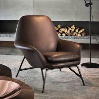 金属沙发单人沙发椅设计师工作室简约休闲皮沙发