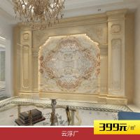 天然大理石背景墙米黄白色灰色 欧式罗马柱背景墙 厂家直销