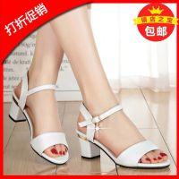 中年妇女妈妈鞋低跟女夏季中年40时尚露趾女士凉鞋妈妈