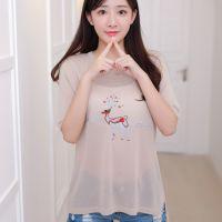 夏季新款女t恤打底衫圆领韩版白色短袖女T恤针织衫女装厂家批发