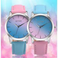 特价销售 OKTIME时尚小清新皮带手表女表 糖果色渐变色学生手表