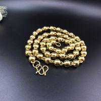 金店1:1同款实心光珠圆珠佛珠项链越南沙金纯黄铜镀金首饰男项链