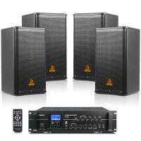 会议室音响套装 狮乐独立四声道两分区功放AV106/BX110 会所店铺背景音响系统