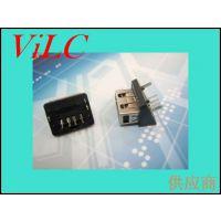 短体AF 10.0斜110度USB母座 双柱二脚DIP/无边 三角黑胶