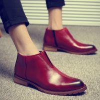 新款男靴子短靴英伦马丁靴男士尖头皮靴时尚潮流高帮皮鞋男韩版