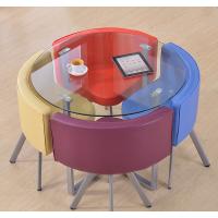 供应佛山港文家具GW-Q4108钢制花盘茶几咖啡洽谈桌钢化玻璃台面桌椅