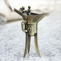 厂家供应金属复古三角杯 仿古青铜金樽三脚酒杯 古装剧道具乾隆杯