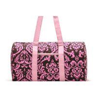 时尚女士单肩菱格粉色旅行包帆布圆通包短途行李包定制logo