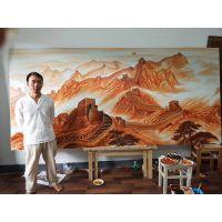 大师手绘万里长城瓷板画作品 家居装饰品摆件屏风