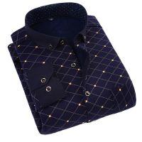 冬款中老年男装长袖衬衫30加绒40大码50岁爸爸带领打底衫保暖内衣