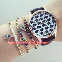 正品韩版小象手表 排队的小飞象皮带手表 学生女生石英仿水手表