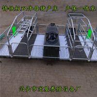 现代化新型养殖复合母猪产床 双体铸铁杠粱母猪分娩床