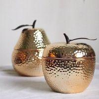 厂家定制金苹果收纳盒陶瓷首饰盒金色铁艺梨桌面摆件家居饰品出口
