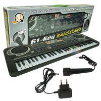 儿童电子琴 黑色61键多功能带麦克风影楼玩具 可弹奏钢琴带电源