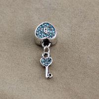 欧美热销饰品配件批发 DIY大孔心锁镶钻钥匙吊坠 eBay货源