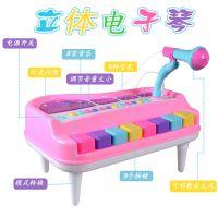带麦克风电子琴 宝宝可弹奏音乐灯光迷你钢琴益智玩具 儿童乐器